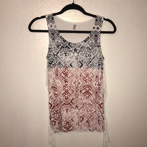 Red white and blue tribal tank top